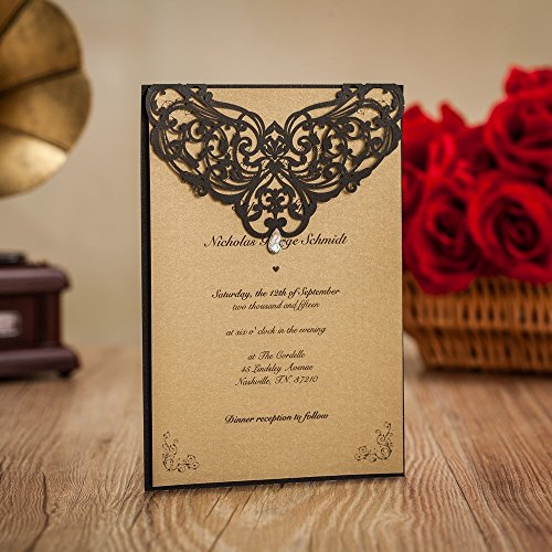 Wishmade Printable Hollow Laser Cut Wedding Invitations Cards with Rhinestone Card Stock For Engagement Party Birthday Bridal Shower Baby Shower Envents LA825 (100) by Wishmade