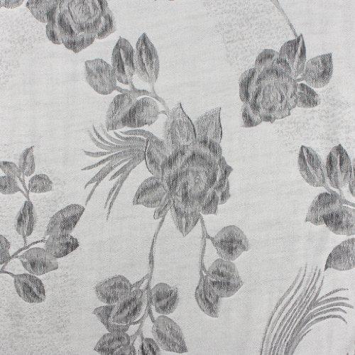 FUPashRose06AG Lightweight Two Tone Rose Floral Design Pashmina Fringe Scarf / Stole / Wrap - White / Black by Sakkas (Image #2)