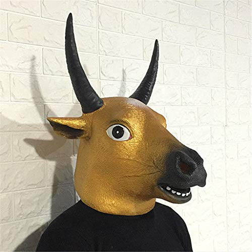 Halloween Props Cow Head Animal Mask Decoration Cosplay Party Tune Latex Props Dress Ball Headgear (Color : C)
