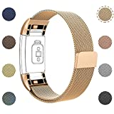 LETSCOM For Fitbit Charge 2 Replacement Bands, Stainless Steel Milanese Metal Replacement Accessories Wristband with Unique Magnet Lock for Fitbit Charge 2 HR
