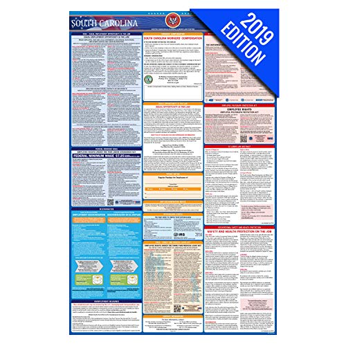 (2019 South Carolina Labor Law Poster – State, Federal, OSHA Compliant – Laminated Mandatory All in One Poster)
