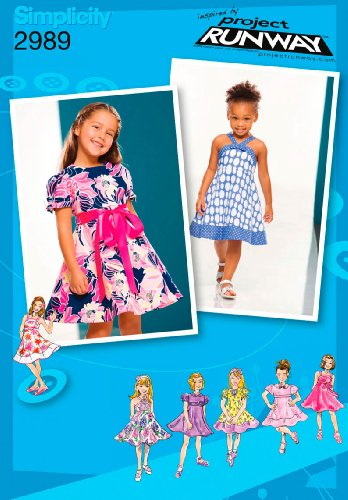 Simplicity Project Runway Pattern 2989 Girls Dresses with Bodice and Skirt Variations Sizes 1/2-1-2-3