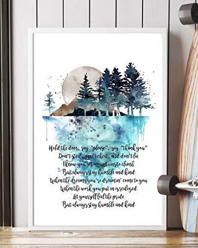 Mattata Humble and Kind Lyrics Poster Print (16