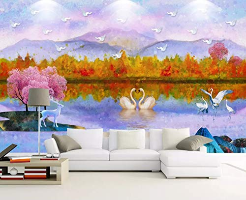 (Wall Mural 3D Wallpaper swan Lake Forest Elk Oil Painting Modern Wall Paper for Living Room Bedroom Tv Wall Decor)