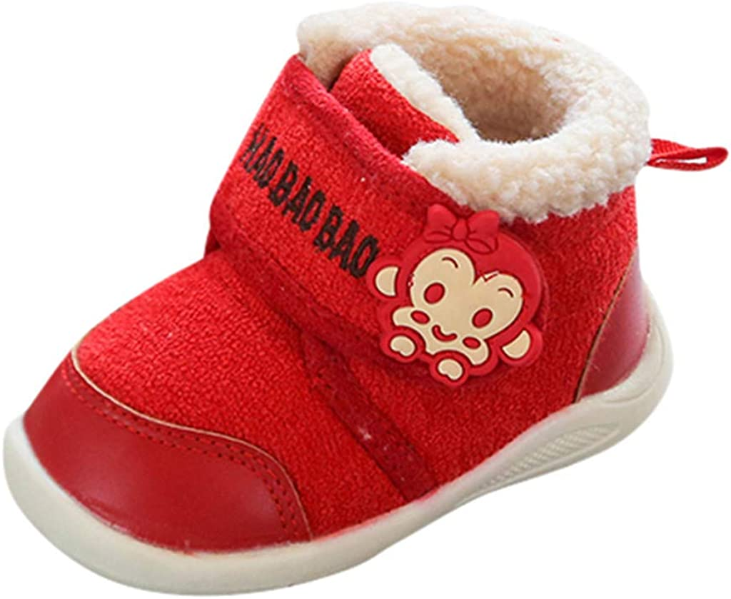 Infant Baby Boys Girls Winter Cotton Shoes Warm Boots for 1-3 Years Old Cute Cartoon Monkey Walking Shoes