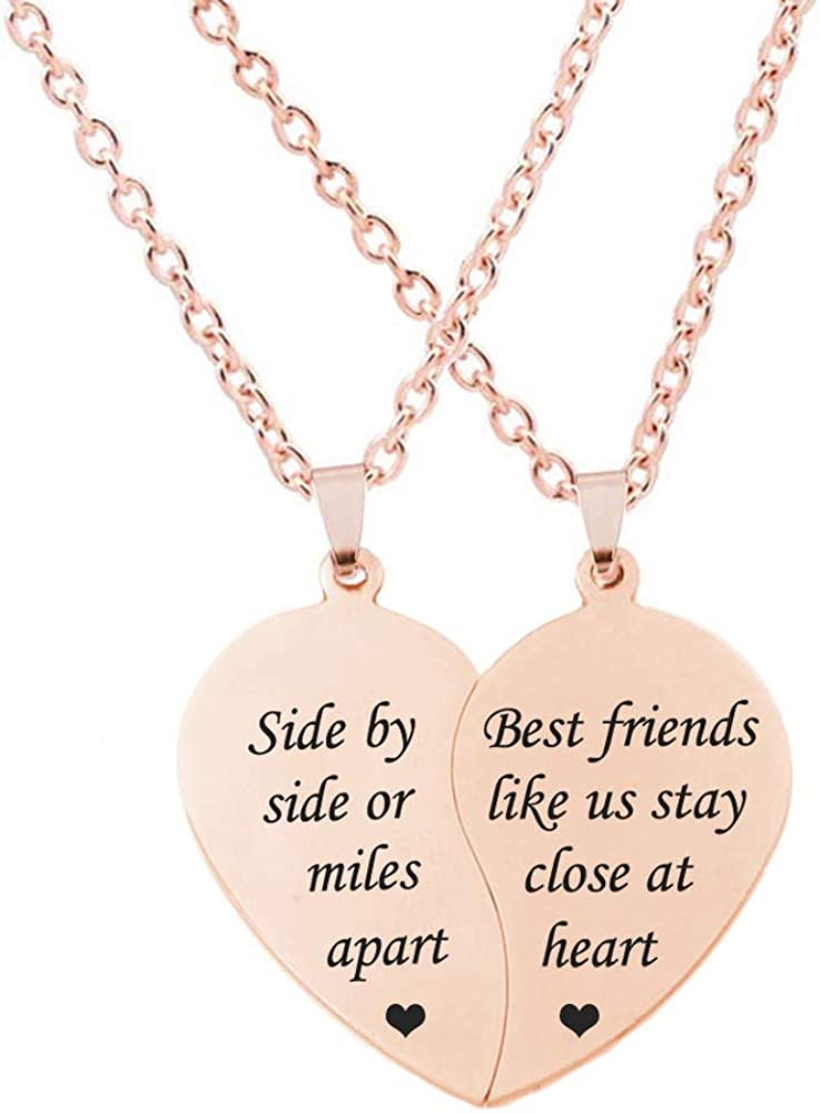 MJartoria BFF Necklace for 2-Split Valentine Heart Necklace TOGETHER FOREVER NEVER APART Best Friends Pendant Friendship Necklace Set of 2 Gifts for Her
