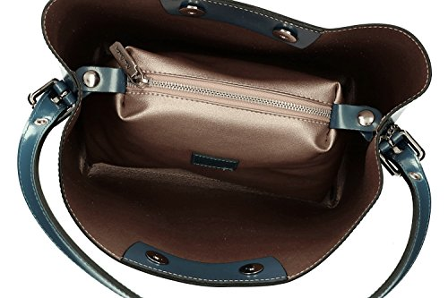 486105ba46245 ... Tasche damen schulter PIERRE CARDIN blau in leder MADE IN ITALY VN1168  ...