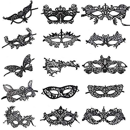 SuperLi Pack of 15 Vintage Lace Masquerade Masks-Halloween Mardi Gras Party Mask(Black)