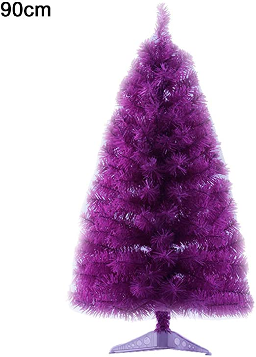 Wellwood 5 ft Tinsel Christmas Tree with 24ct Assorted Ornament Set Easy Assembly Purple Metal Stand