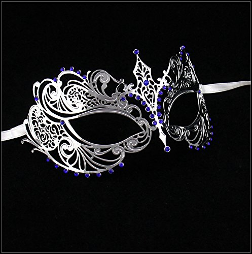 Luxury Mask Women's Laser Cut Metal Venetian Pretty Masquerade Mask, Silver/Blue Stones, One Size