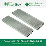 2 - Bissell Style 8 & 14 Lift-Off Bagless HEPA Filters, Part # 3091. Designed by FilterBuy to fit All Bissell PetHair Eraser & Bissell Velocity Dual Cyclonic Upright Vacuum Cleaners