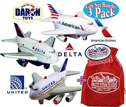 Daron American Airlines, Delta & United Airlines Lights & Sounds Pull Back Planes Gift Set Bundle with Exclusive