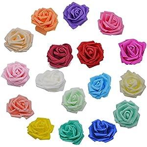 YONGSNOW 50Pcs/lot 8cm PE Foam Rose Head Artificial Flowers for DIY Bouquet Wearth Wedding Party Decoration 1