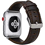 MroTech Apple Watch Cinturino in pelle, Vintage Series Apple Watch Band Elastico di RICAMBIO in vera pelle con fibbia in acciaio inossidabile per Apple Watch/SPORT/EDITION, Coffee, 42 mm