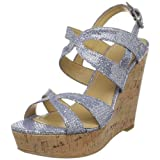 Nine West Women's Nacia Wedge Sandal,Silver Blue/Silver Fabric,9 M US
