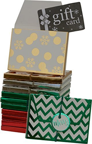 Gift card holder, envelope box with elastic and tag, assorted christmas designs in assorted colors, pack of 12 boxes