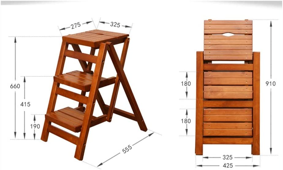 Color : Brown TIMBER Stool Small Step Ladder Stool,Wood 3 Step Stool for Adults /& Kids Indoor Folding Stepladder Kitchen Wooden Ladders Foot Stools Portable Shoe Bench//Flower Rack