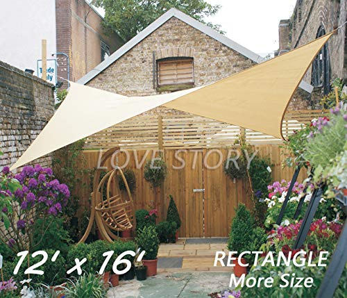 Love Story 12' x 16' Rectangle Sand Sun Shade Sail Canopy UV Block Awning for Outdoor Patio Garden Backyard