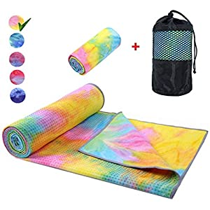 Yoga Mat Towel Non Slip Hot Yoga Towel ,Sweat Absorbent, for Hot Yoga, Bikram, Pilates (Tie-Dyed Yellow)
