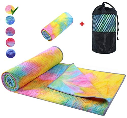 Yoga Mat Towel Non Slip Hot Yoga Towel ,Sweat Absorbent, for Hot Yoga, Bikram, Pilates (Tie-Dyed Yellow)