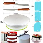 150 Pcs Cake Decorating Supplies Kit for Beginners-1 Turntable stand-48 Numbered icing tips with pattern chart & E.Book-1 Cake Leveler-Straight & Angled Spatula-3 Russian Piping nozzles-Baking tools 9 ✅ SMOOTH REVOLVING TURNTABLE: RFAQK turntable stand revolve smoothly with hidden ball bearings and helps you easily decorate cakes for birthdays, weddings and other events. It revolves clock & anti clock wise, good for both Right & Left handers. Use RFAQK straight spatula for icing round cakes from sides and angled spatula from Top while rotating turntable. Turntable is made from non-sticky, non-toxic & dishwasher safe plastic. Ideal for beginners as well as for professionals ✅ NUMBERED TIPS – EASY TO USE: This is the ONLY set having numbered tips with Pattern chart. So you don't have to worry about which tips produce what kind of decoration, just have a look on pattern chart where we have provided outcome of each tip to make tip selection very easy. ✅TOP PROFESSIONALLY SELECTED TIPS: We have selected top 48 tips including Round Tips, Leaf Tips, Petal Tips, French Tips, Basket Weave tips, open Star Tips & close Star Tips, Drop Flower tips. ✅ USEFUL ACCESSORIES. Use 3 scrapers to smooth icing on sides & top and carve designs. Use 2 couplers to exchange tips without exchanging piping bags. Use cleaning brush to clean narrow top of tips. RFAQK decorating pen helps you writing, decorating same as you doing with normal pen. Use flower nail with RFAQK petal tip to produce roses. Use flower lifter scissor to shift flower from nail to Cake