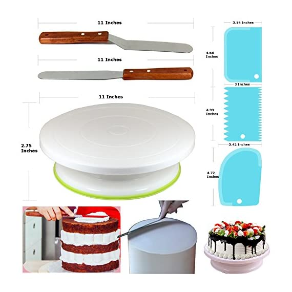 150 Pcs Cake Decorating Supplies Kit for Beginners-1 Turntable stand-48 Numbered icing tips with pattern chart & E.Book-1 Cake Leveler-Straight & Angled Spatula-3 Russian Piping nozzles-Baking tools 2 ✅ SMOOTH REVOLVING TURNTABLE: RFAQK turntable stand revolve smoothly with hidden ball bearings and helps you easily decorate cakes for birthdays, weddings and other events. It revolves clock & anti clock wise, good for both Right & Left handers. Use RFAQK straight spatula for icing round cakes from sides and angled spatula from Top while rotating turntable. Turntable is made from non-sticky, non-toxic & dishwasher safe plastic. Ideal for beginners as well as for professionals ✅ NUMBERED TIPS – EASY TO USE: This is the ONLY set having numbered tips with Pattern chart. So you don't have to worry about which tips produce what kind of decoration, just have a look on pattern chart where we have provided outcome of each tip to make tip selection very easy. ✅TOP PROFESSIONALLY SELECTED TIPS: We have selected top 48 tips including Round Tips, Leaf Tips, Petal Tips, French Tips, Basket Weave tips, open Star Tips & close Star Tips, Drop Flower tips. ✅ USEFUL ACCESSORIES. Use 3 scrapers to smooth icing on sides & top and carve designs. Use 2 couplers to exchange tips without exchanging piping bags. Use cleaning brush to clean narrow top of tips. RFAQK decorating pen helps you writing, decorating same as you doing with normal pen. Use flower nail with RFAQK petal tip to produce roses. Use flower lifter scissor to shift flower from nail to Cake