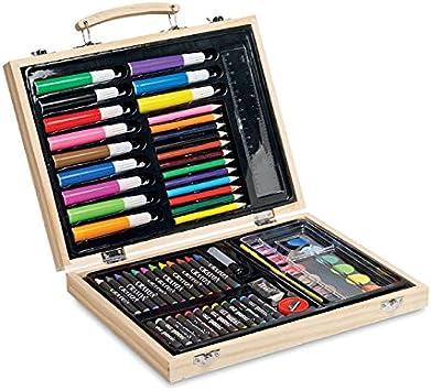 Publiclick® Estuche Pinturas en Caja de Madera. 66 Piezas (Incluye Ceras, rotuladores, lápices de Colores, Acuarelas, Goma de borrar, Pegamento, Pincel, Regla y lápiz): Amazon.es: Juguetes y juegos