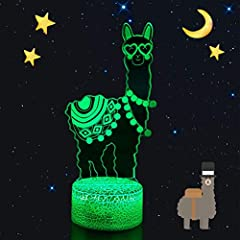 Novelty Llama Night Light,Light Up Your Child's Bedroom! Help Kids Feel Safe at Night.Solid Acrylic Material Strong, hard, high toughness, will not hurt child; Laser engraving technology,never fade.7 Colors Changing Red, Green, Blue, Yellow, ...