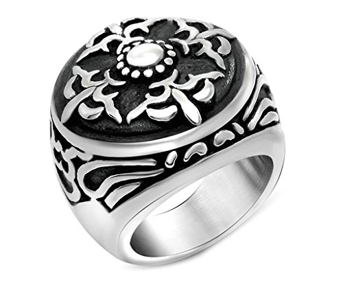 Men's Stainless Steel Ring Vintage Retro Round Punk Rock Style Band Ring Silver Size - Round Rock Outlet