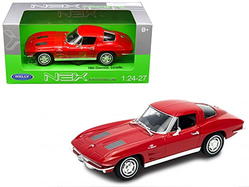 (1963 Chevrolet Corvette Red 1/24-1/27 Diecast Model Car by Welly)