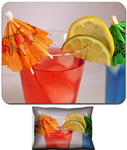 Refreshing Drink Design - Luxlady Mouse Wrist Rest and Small Mousepad Set, 2pc Wrist Support design A refreshing summer drink with lime and lemon plus a umbrella IMAGE: 355860
