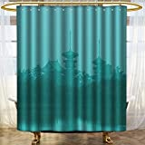 NALAHOMEQQ Home Decor Shower Curtain Set by Various Temples above the Sea Holy Tank in Fog Symbolic Faith Custom Pagoda Monochrome Print Bathroom Accessories Turquoise(60''x72'')