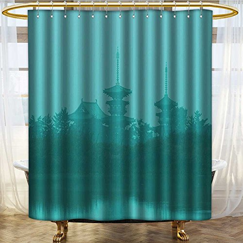 NALAHOMEQQ Home Decor Shower Curtain Set by Various Temples above the Sea Holy Tank in Fog Symbolic Faith Custom Pagoda Monochrome Print Bathroom Accessories Turquoise(60''x72'') by NALAHOMEQQ