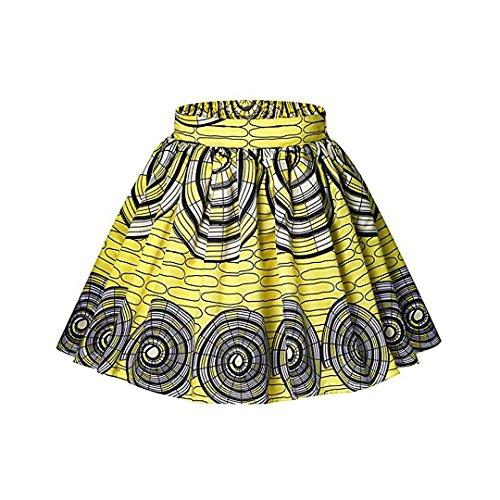Vintage Pleated Skirt - Multifit Women Vintage African Yellow Circle Print Midi Skirt Fashion Pleated Flared Bust Skirt Short Skirt(XL)