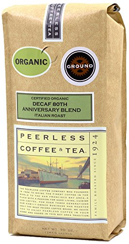 Peerless Ground Coffee, Decaf Organic Italian Roast, 10 Ounce (1 bag)
