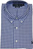 "Polo Ralph Lauren Classic-Fit Plaid Oxford Dress Shirt (18"" Neck 34/35, Blue/Navy)"