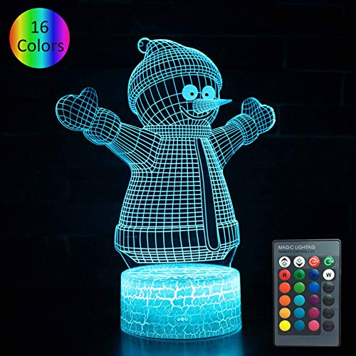 YOUNSH 3D Snowman, Snowman with Lights Bedside Lamp 16 Color Changing with Smart Touch & Remote Control for Kids Lamps as Birthday Gifts for Boys - Lamp Snowman