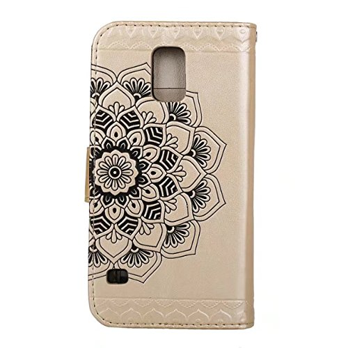GR Para Samsung Galaxy S5 I9600 En relieve Half Flower DesignPU Cartera de cuero Flip Stand Case ( Color : Gray ) Gold
