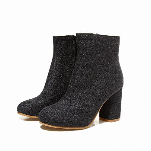 Carolbar Womens Shiny Sequins High Heel Autumn Short Dress Boots Black zh07Qb1