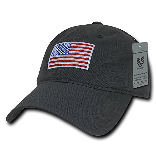 Rapid Dominance American Flag Embroidered Washed Soft Cotton Fitting Cap - Dark Grey from Rapid Dominance