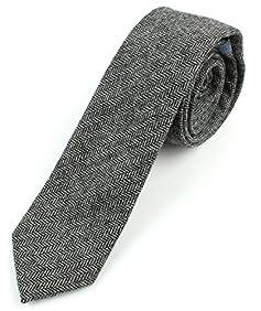 Men's Wool Herringbone Skinny Necktie Tie - 2 1/2