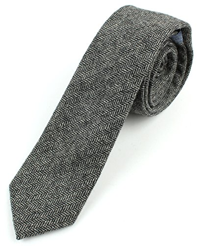Men's Wool Herringbone Skinny Necktie Tie - Black