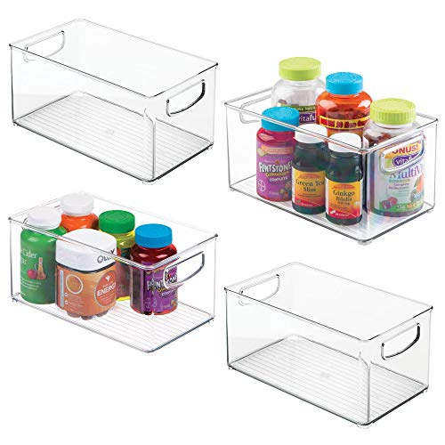 mDesign Stackable Plastic Storage Organizer Bin Trays with Handles - Holds Vitamins, Supplements, Medicine Bottles Essential Oils, Medical Supplies, First Aid Supplies - 5 High - 4 Pack, Clear
