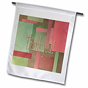 Beverly Turner Thank you Design - Rectangle Green and Peach Pastel Design - 12 x 18 inch Garden Flag (fl_37035_1)