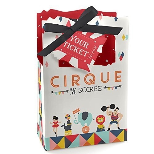 Carnival Circus - Cirque du Soiree - Baby Shower or Birthday Party Favor Boxes - Set of 12 -