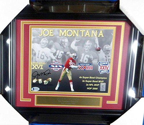 Joe Montana Autographed Framed 8x10 Photo San Francisco 49ers Beckett BAS