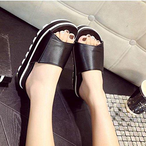 Noir Sandals Talon Toe Open Beach Glisse Féminine Sandales Forme Blanc Chunky Plate La Noir Haut de la Mode Summer SfZqzapf