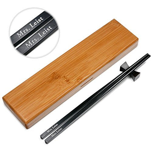 (1 Pair Natural Black Ebony Wood Chopsticks - Custom Engraved With Personalized Names in Silver or Gold Color - In Classic Square handle Chinese or Japanese Style - Gift Set With Rest and Bamboo Case)
