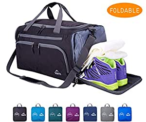 Venture Pal Packable Sports Gym Bag Wet Pocket & Shoes Compartment Travel Duffel Bag Men Women-Black