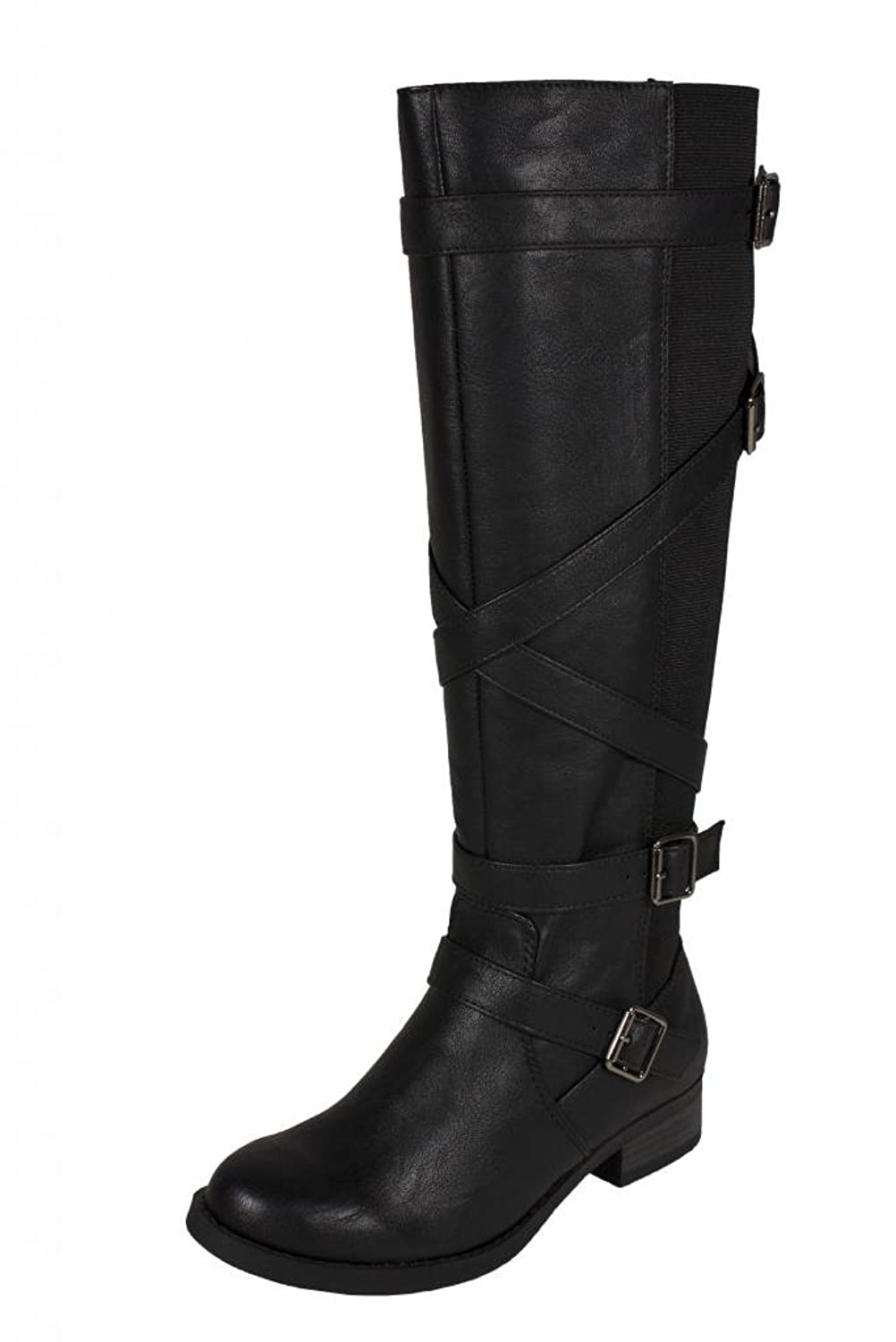 Women's Black Knee High Strappy Buckle Boots - DeluxeAdultCostumes.com